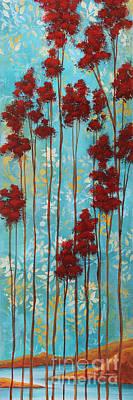 Stunning Abstract Landscape Elegant Trees Floating Dreams I By Megan Duncanson Art Print by Megan Duncanson