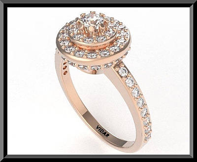 14k Jewelry - Stunning Diamond Halo 14k Rose Gold Engagement Ring by Roi Avidar