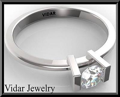 14k Jewelry - Stunning Diamond Solitaire 14k White Gold Engagement Ring by Roi Avidar