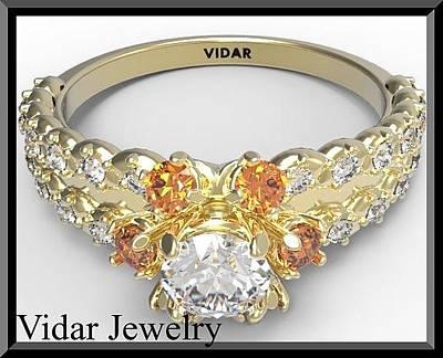 14k Jewelry - Stunning Orange Sapphire And Diamond 14k Yellow Gold Engagement Ring by Roi Avidar