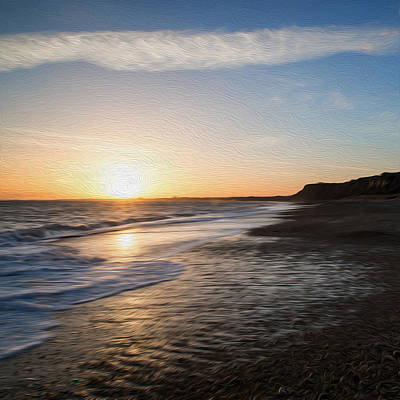 Erene Photograph - Stunning Sunset Over Beach Landscape Digital Painting by Matthew Gibson