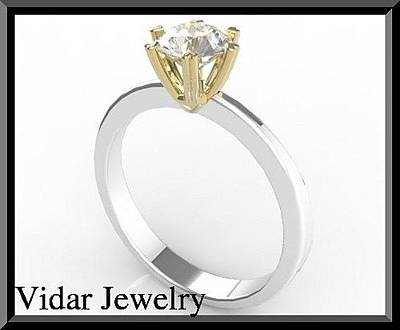 14k Gold Jewelry - Stunning Two Tone Gold Diamond Engagement Ring - Heart Design by Roi Avidar