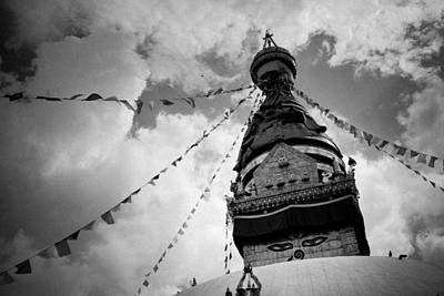 Stupa Swayambhunath Balck And White Art Print by Raimond Klavins