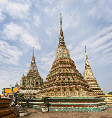 Photograph - Stupas Of Wat Pho by Dennis Hedberg