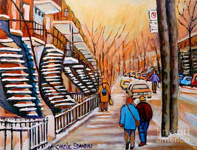 Streetscenes Painting - St.urbain Street Walk In Winter by Carole Spandau