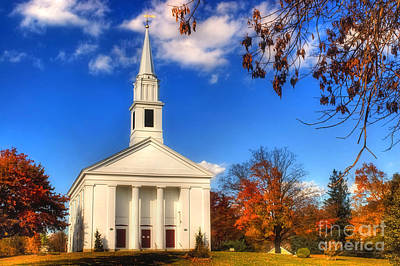 New England Fall Photograph - Sturbridge Church In Autumn by Joann Vitali