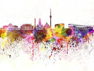 Splatter Digital Art - Stuttgart Skyline In Watercolor Background by Pablo Romero