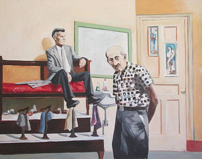 Painting - Stuyvesant Barber Shop by Linda Novick