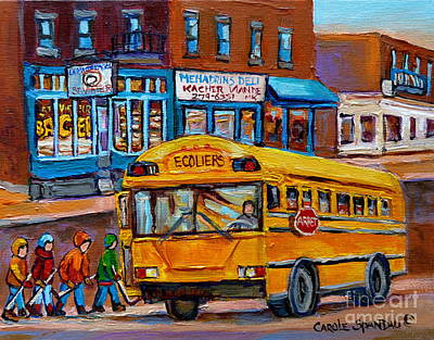 Hockey Painting - St.viateur Bagel And School Bus Montreal Urban City Scene by Carole Spandau