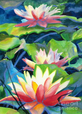 Waterlily Painting - Styalized Lily Pads 3 by Kathy Braud