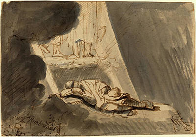Wash Drawing - Style Of Rembrandt Van Rijn, Jacobs Dream by Litz Collection