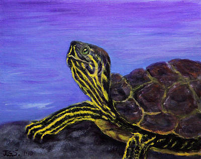 Painting - Stylin' Striped Turtle by Janet Greer Sammons
