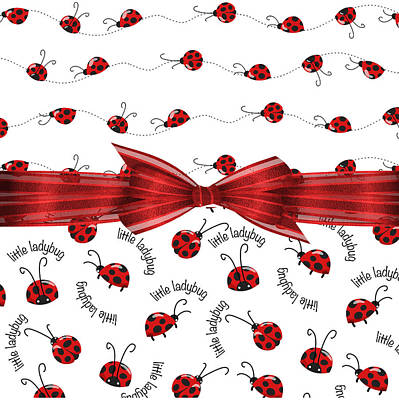 Stylish Ladybugs Print by Debra  Miller