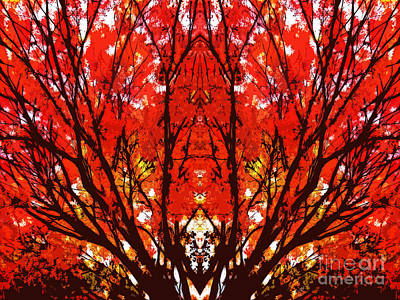 Stylized Maple Tree With Red And Orange Leaves Art Print