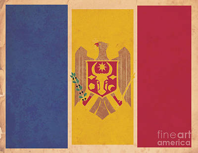 Chisinau Digital Art - Stylized Moldovan Flag  by Megan C