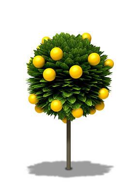 Digital Art - Stylized Orange Tree by Allan Swart