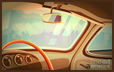Auto Wall Art - Digital Art - Stylized Retro Interior Vector by Andrii Stepaniuk