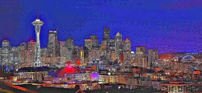 Stylized Seattle Skyline Art Print by Benjamin Yeager