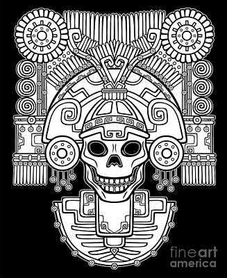 Tribal Wall Art - Digital Art - Stylized Skull. Pagan God Of Death by Zvereva Yana