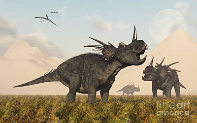 Anger Digital Art - Styracosaurus Dinosaurs Calling by Mark Stevenson