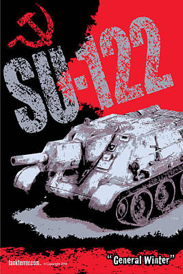 Su-122 Russian Tank Print by Philip Arena