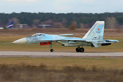 T-50 Photograph - Su-35 Testbed Of T-50 Engine Landing by Artyom Anikeev