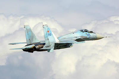 T-50 Photograph - Su-35 Testbed Of T-50 Engine Taking by Artyom Anikeev