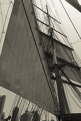 Photograph - Suare And Triangle Black And White Sepia by Scott Campbell