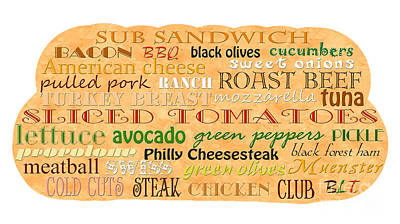 Digital Art - Sub Sandwich Typography by Andee Design
