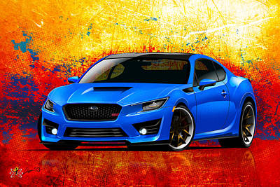 Digital Art - subaru BRZ STI  by Doug Schramm