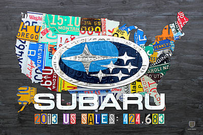 Usa United States Mixed Media - Subaru License Plate Map Sales Celebration Limited Edition 2013 Art by Design Turnpike