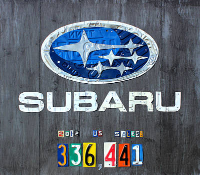 Celebrating Mixed Media - Subaru Logo Art Celebrating 2012 Usa Sales Totals by Design Turnpike