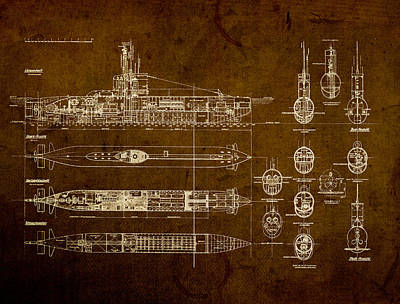 Submarine Blueprint Vintage On Distressed Worn Parchment Art Print by Design Turnpike