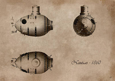 Sepia Ink Digital Art - Submarine by Bruno Haver