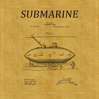 Photograph - Submarine Patent 1 by Andrew Fare