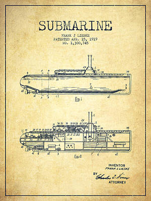 Submarine Patent From 1919 - Vintage Art Print by Aged Pixel