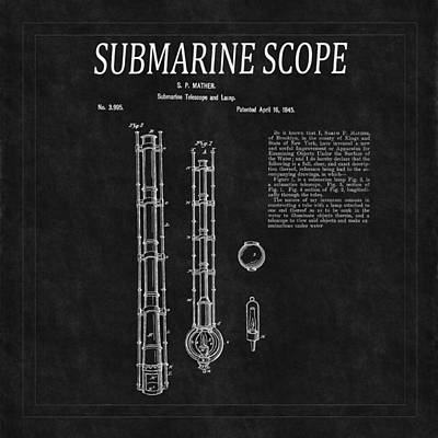 Photograph - Submarine Scope Patent 2 by Andrew Fare