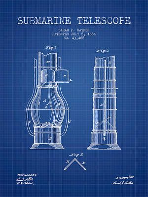 Astronomical Digital Art - Submarine Telescope Patent From 1864 - Blueprint by Aged Pixel