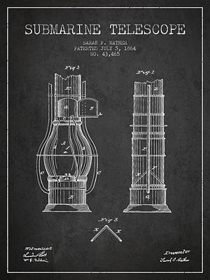 Astronomical Digital Art - Submarine Telescope Patent From 1864 - Dark by Aged Pixel