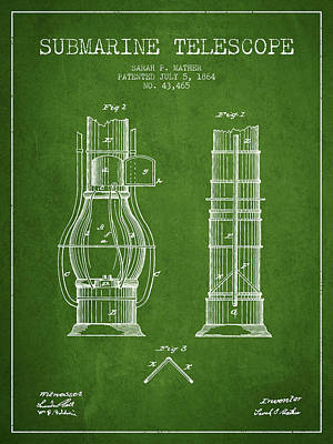 Astronomical Digital Art - Submarine Telescope Patent From 1864 - Green by Aged Pixel