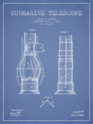 Astronomical Digital Art - Submarine Telescope Patent From 1864 - Light Blue by Aged Pixel