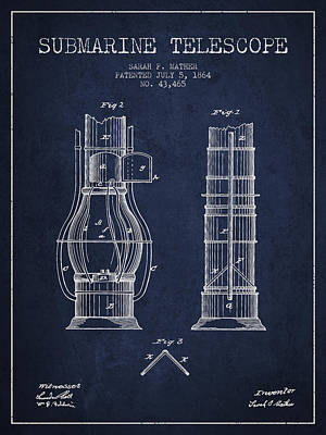 Astronomical Digital Art - Submarine Telescope Patent From 1864 - Navy Blue by Aged Pixel