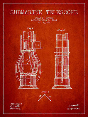 Astronomical Digital Art - Submarine Telescope Patent From 1864 - Red by Aged Pixel