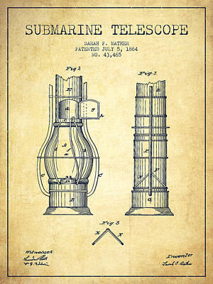 Astronomical Digital Art - Submarine Telescope Patent From 1864 - Vintage by Aged Pixel