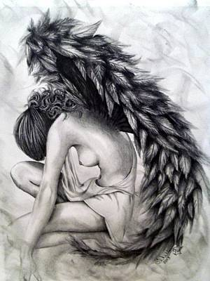 Fallen Angel Drawing - Subservience by Shelby Edelman