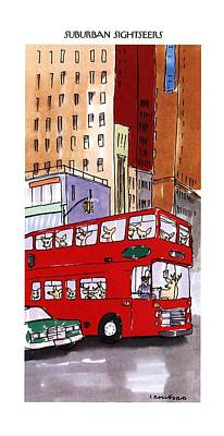 Sightseeing Drawing - Suburban Sightseers by Michael Crawford