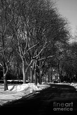 Frank J Casella Royalty-Free and Rights-Managed Images - Suburban Street in Winter by Frank J Casella
