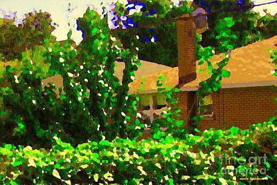 Suburban Summer Scene Backyard Retreat Shrubs And Flowers Cote St Luc  Quebec Carole Spandau Art Print by Carole Spandau