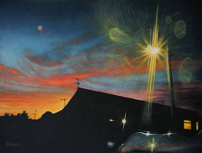 Suburban Sunset Oil On Canvas Art Print