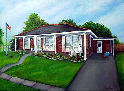 Driveway Painting - Suburban Home by Elaine Hodges